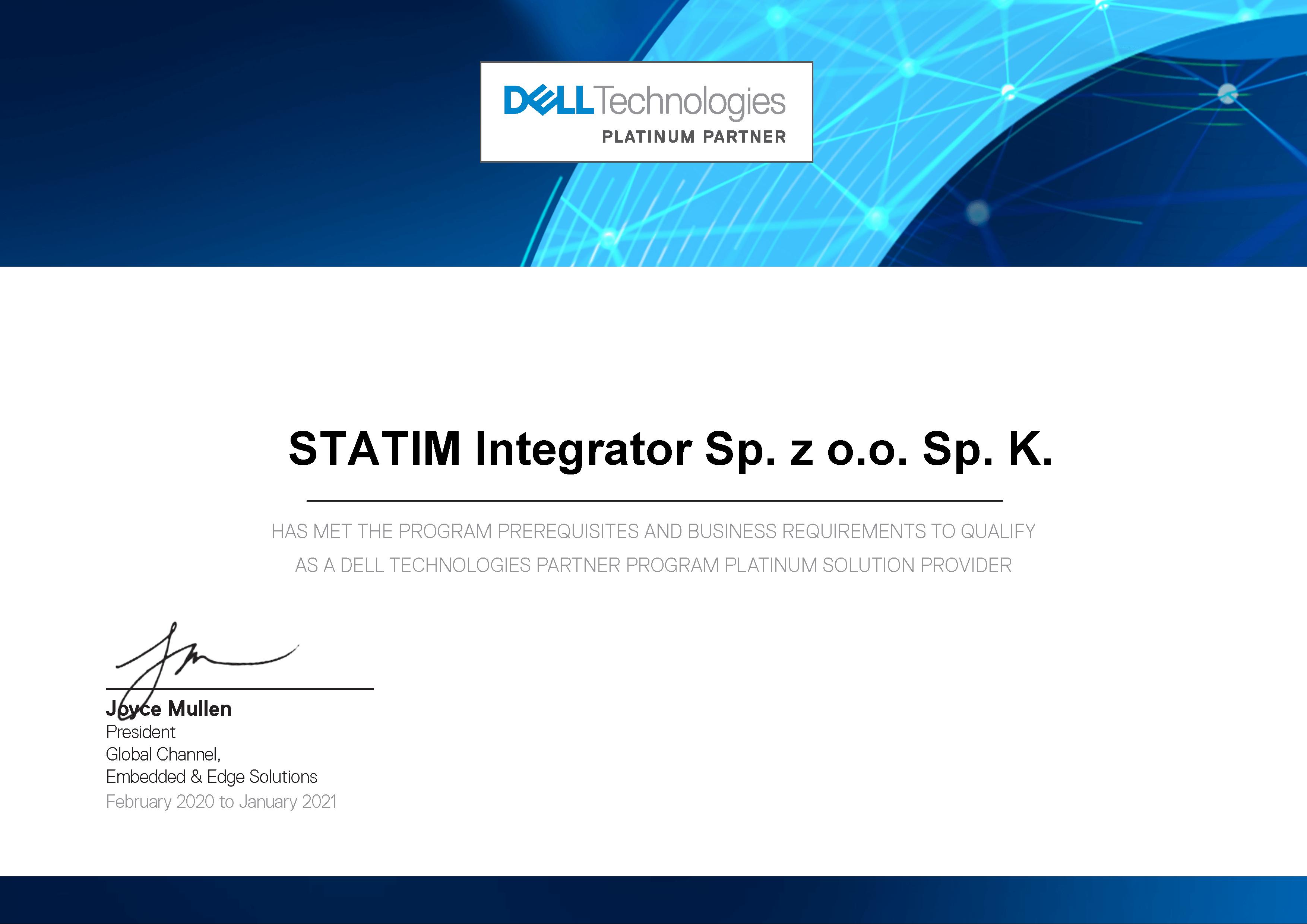 Statim Integrator ponownie w gronie Platynowych Partnerów Dell Technologies