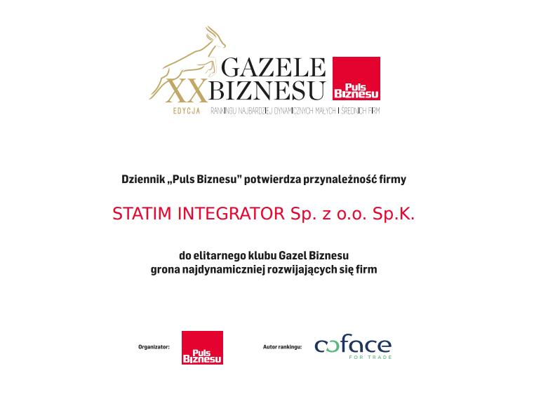 Statim Integrator Gazelą Biznesu 2019